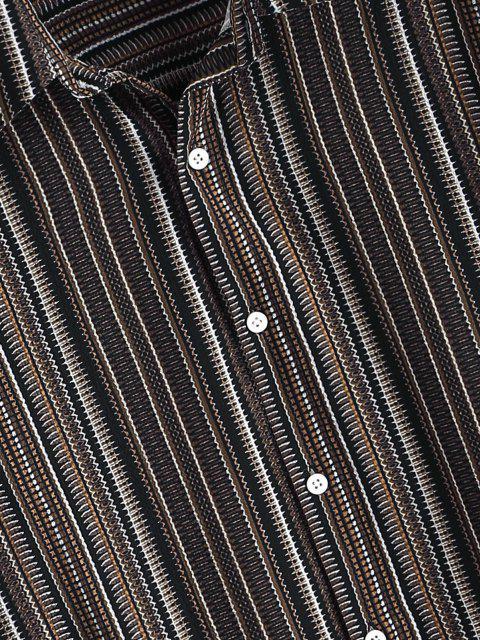 Camisa Rayada Estampado Tribal Botón - Café Profundo XL Mobile