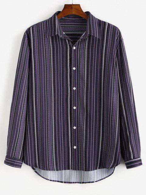 outfits Tribal Stripes Print Button Down Shirt - CONCORD XL Mobile