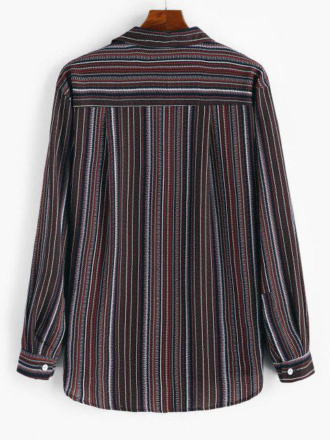 lady Tribal Stripes Print Button Down Shirt - RED 3XL Mobile