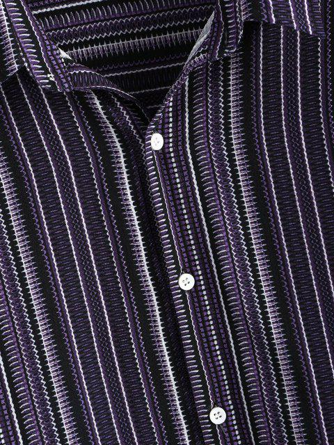 trendy Tribal Stripes Print Button Down Shirt - CONCORD M Mobile
