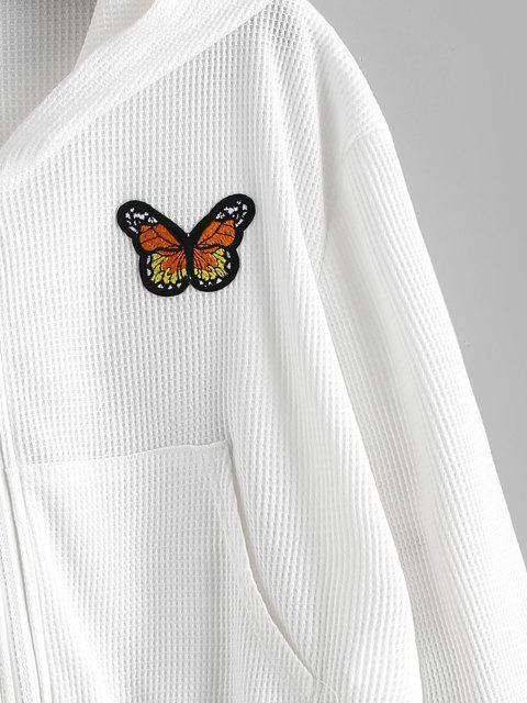 buy Zip Up Textured Butterfly Patched Hoodie - WHITE S Mobile