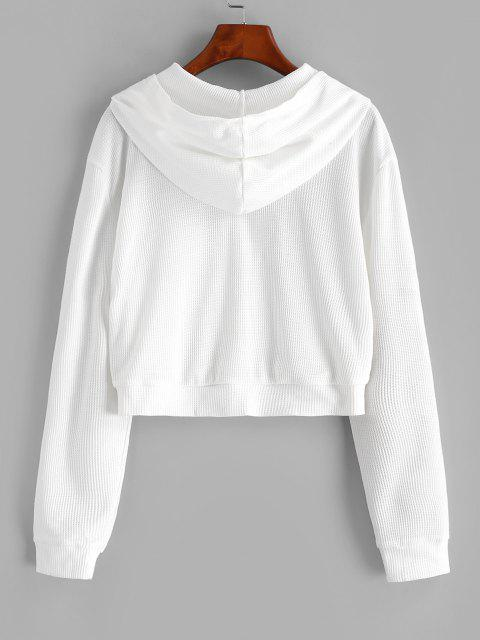 Zip Up Textured Butterfly Patched Hoodie - أبيض S Mobile