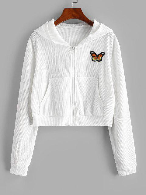 women's Zip Up Textured Butterfly Patched Hoodie - WHITE XL Mobile