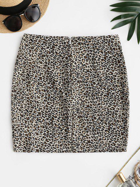 new Leopard Animal Print Slit Tight Skirt - CHAMPAGNE GOLD L Mobile