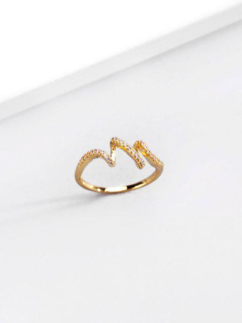 latest 18K Gold Plated Artificial Diamond Waves Shape Finger Ring - GOLDEN US 9 Mobile