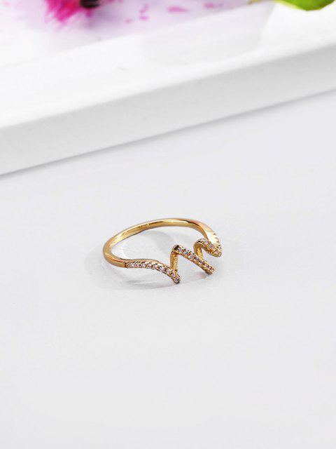 shop 18K Gold Plated Artificial Diamond Waves Shape Finger Ring - GOLDEN US 7 Mobile