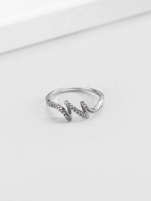 outfits Artificial Diamond Waves Shape Finger Ring - SILVER US 9 Mobile