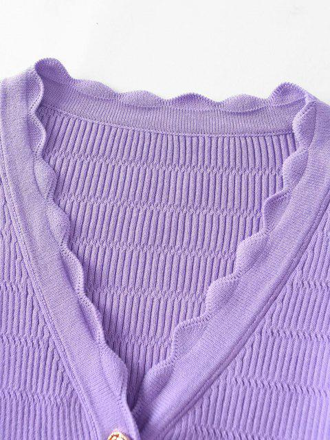 chic Button Up V Neck Crop Cardigan - PURPLE DAFFODIL S Mobile