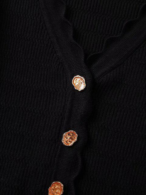 Cardigan mit V Ausschnitt und Knopfleiste - Schwarz M Mobile
