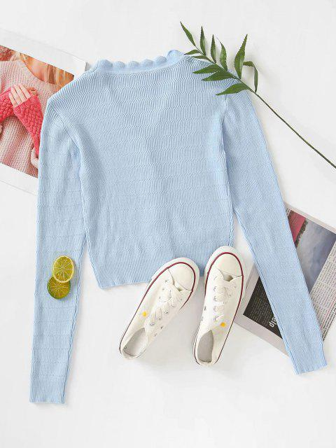 hot Button Up V Neck Crop Cardigan - POWDER BLUE M Mobile
