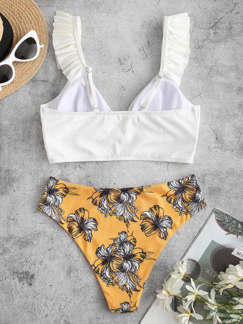 ZAFUL Gerippte Tankini Badebekleidung mit Rüschen und Blumenmuster - Weiß 2XL Mobile