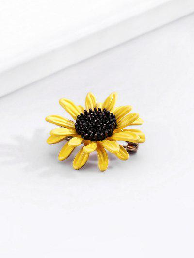 Sunflower Shape Metal Brooch - Sun Yellow