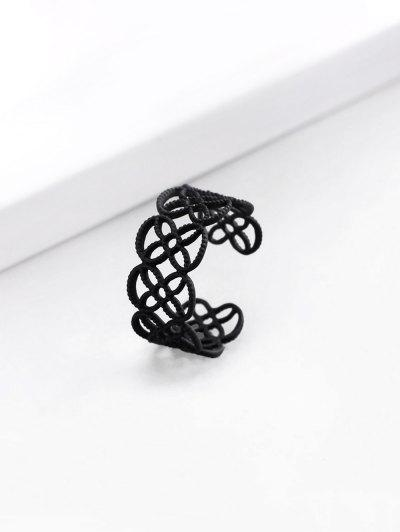 Hollow Cut Flower Shape Cuff Ring - Black Us 7