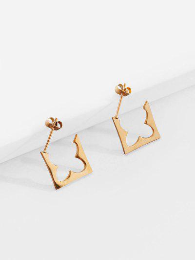 18K Gold Plated Geometric Earrings - Golden