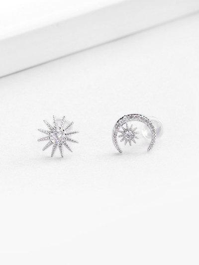 Zircon Embellished Moon Star Shape Stud Earrings - Silver