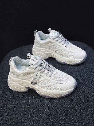 Mesh Panel Striped Sports Sneakers - Gray Eu 40