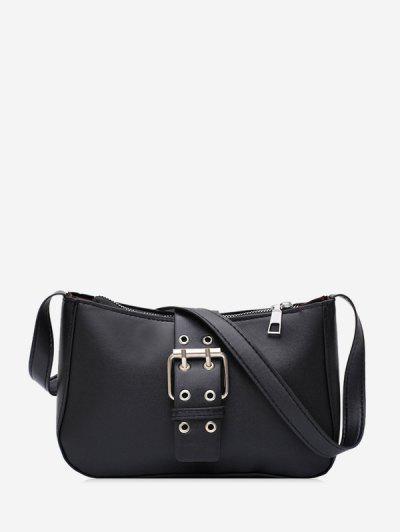 Buckle Zipper French Shoulder Bag - Black