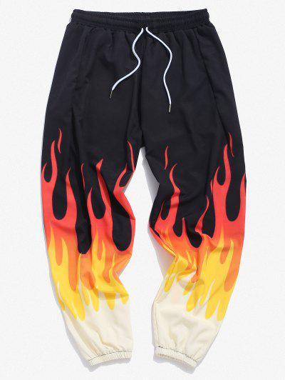 Fire Flame Print Elastic Waist Pants - Yellow L
