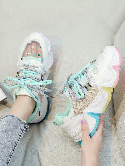Colorblock Mesh Panel Dad Sneakers - Sea Green Eu 38