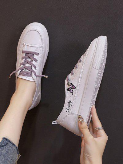 Butterfly Embroidery Lace Up Sports Shoes - Mauve Eu 39