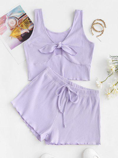 ZAFUL Knotted Ripped Tie Two Piece Shorts Set - Light Purple S