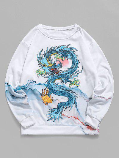 Mountain Oriental Dragon Print Flocking Sweatshirt - White L