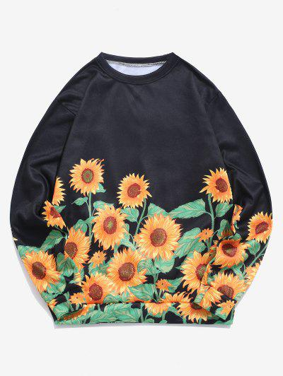 Sweat-shirt Flocage Motif De Tournesol - Verge D'or M