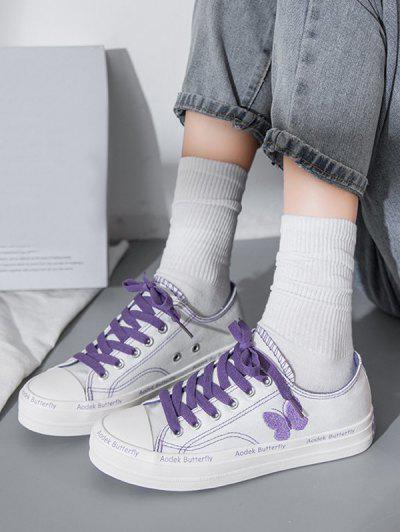 Zapatos De Lona Con Bordado De Mariposa - Blanco Eu 38