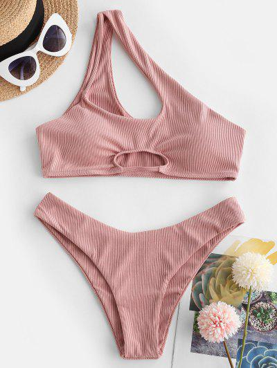 ZAFUL Ribbed One Shoulder Cutout Bikini Swimwear - Rose S