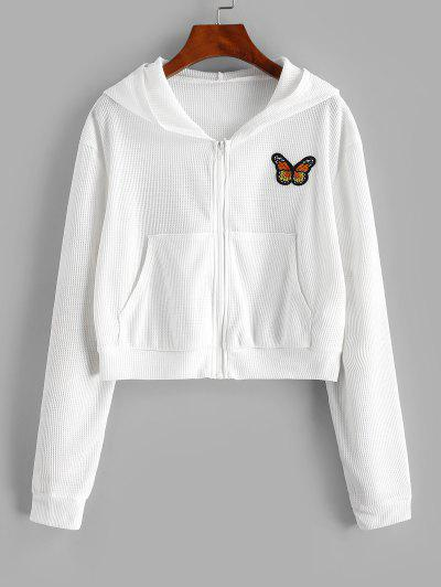 Sweat à Capuche Patché Texturé à Papillon Zippé - Blanc L