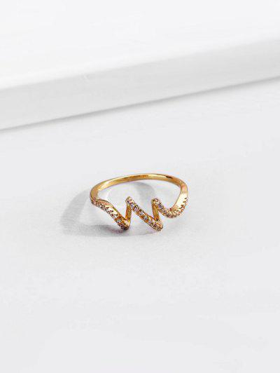 18K Gold Plated Artificial Diamond Waves Shape Finger Ring - Golden Us 8