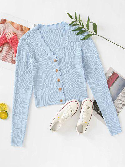 Button Up V Neck Crop Cardigan - Powder Blue S