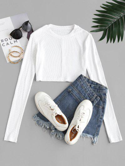Ribbed Slim Long Sleeve Crop Tee - Milk White M