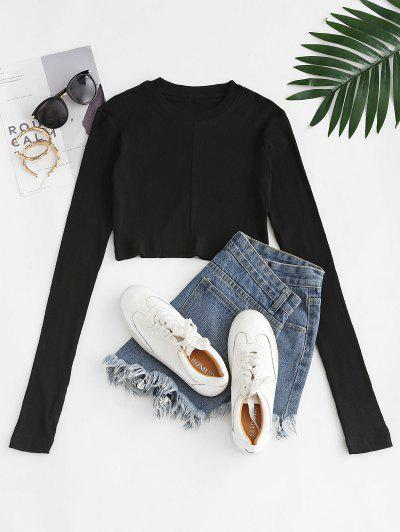 Ribbed Slim Long Sleeve Crop Tee - Black S