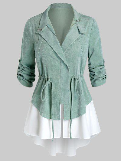 Plus Size Corduroy Drawstring Roll Up Sleeve Jacket - Light Green 5x