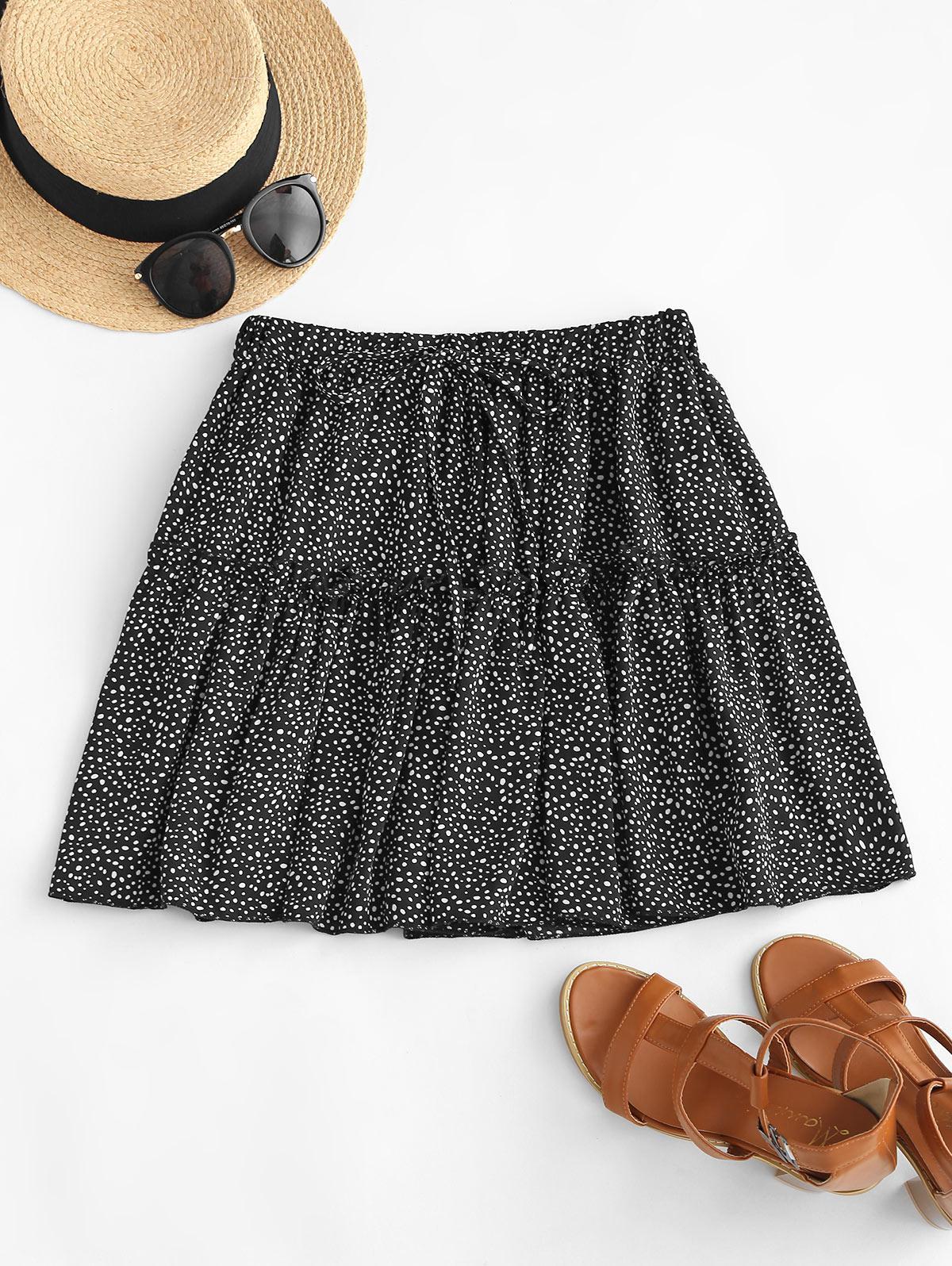 Dalmatian Print Tiered Skirt