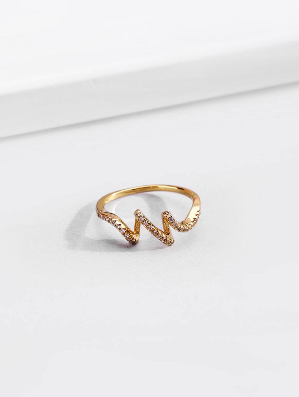 18K Gold Plated Artificial Diamond Waves Shape Finger Ring