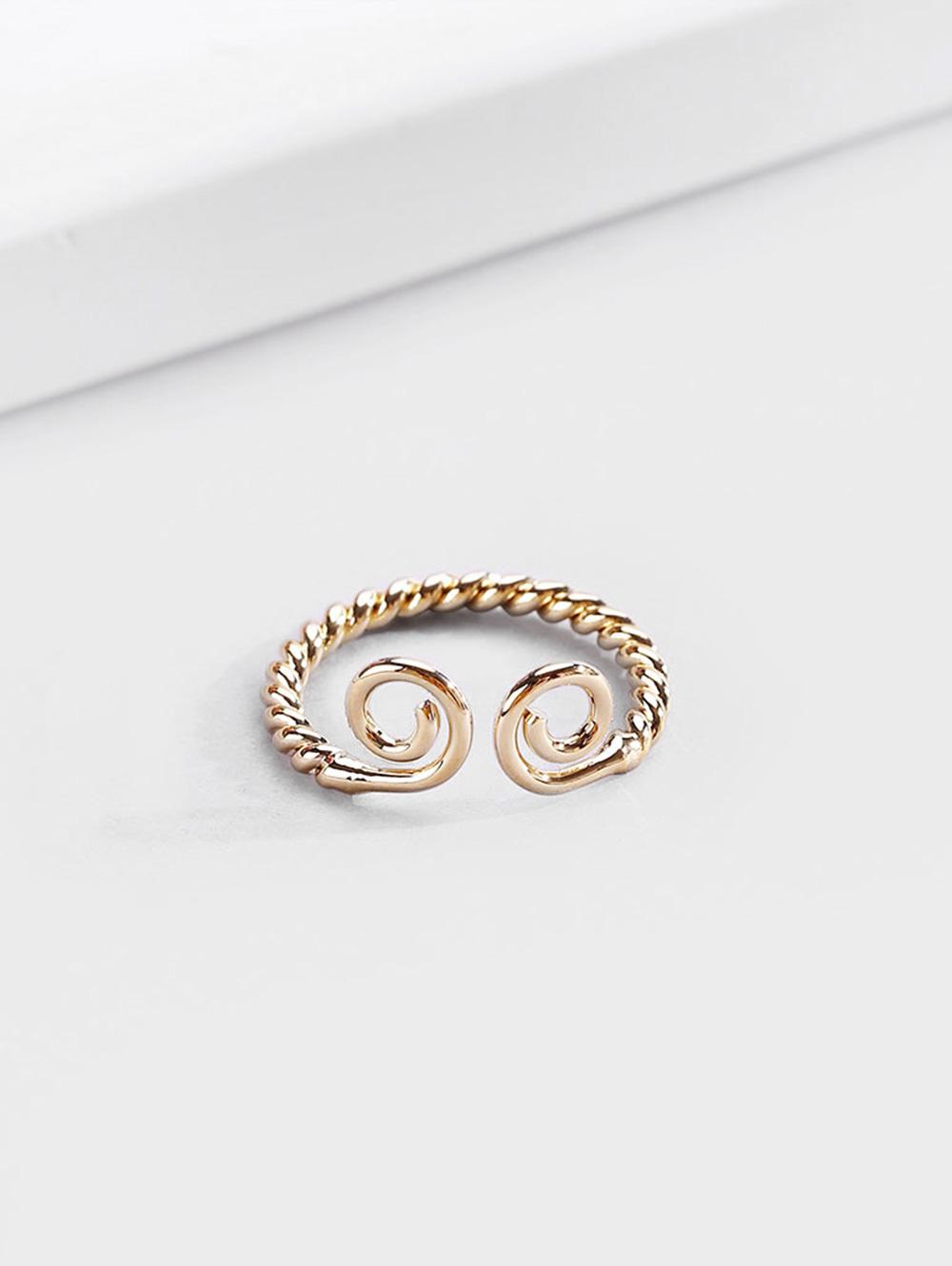 18K Gold Plated Adjustable Twisted Finger Cuff Ring
