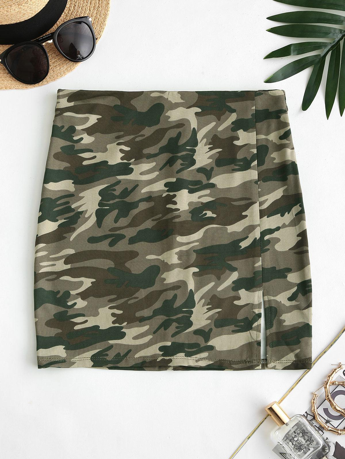 Camouflage Slit Bodycon Mini Skirt