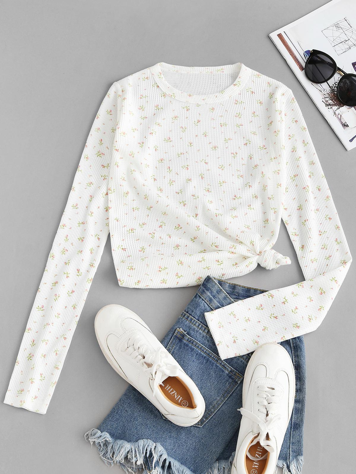 Textured Floral Slim Long Sleeve Tee