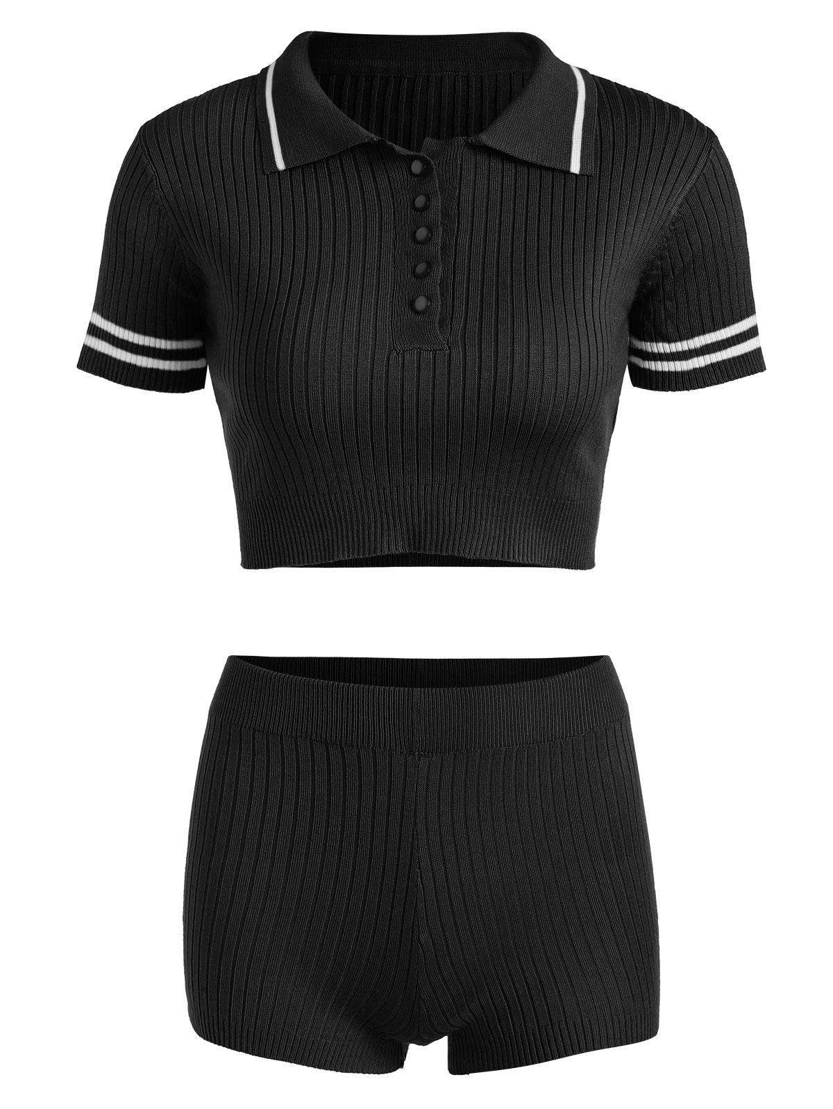 Ribbed Striped Half Placket Two Piece Shorts Set
