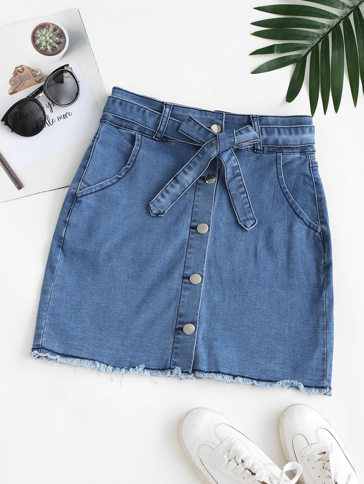 Belted Frayed Hem Button Up Denim Skirt