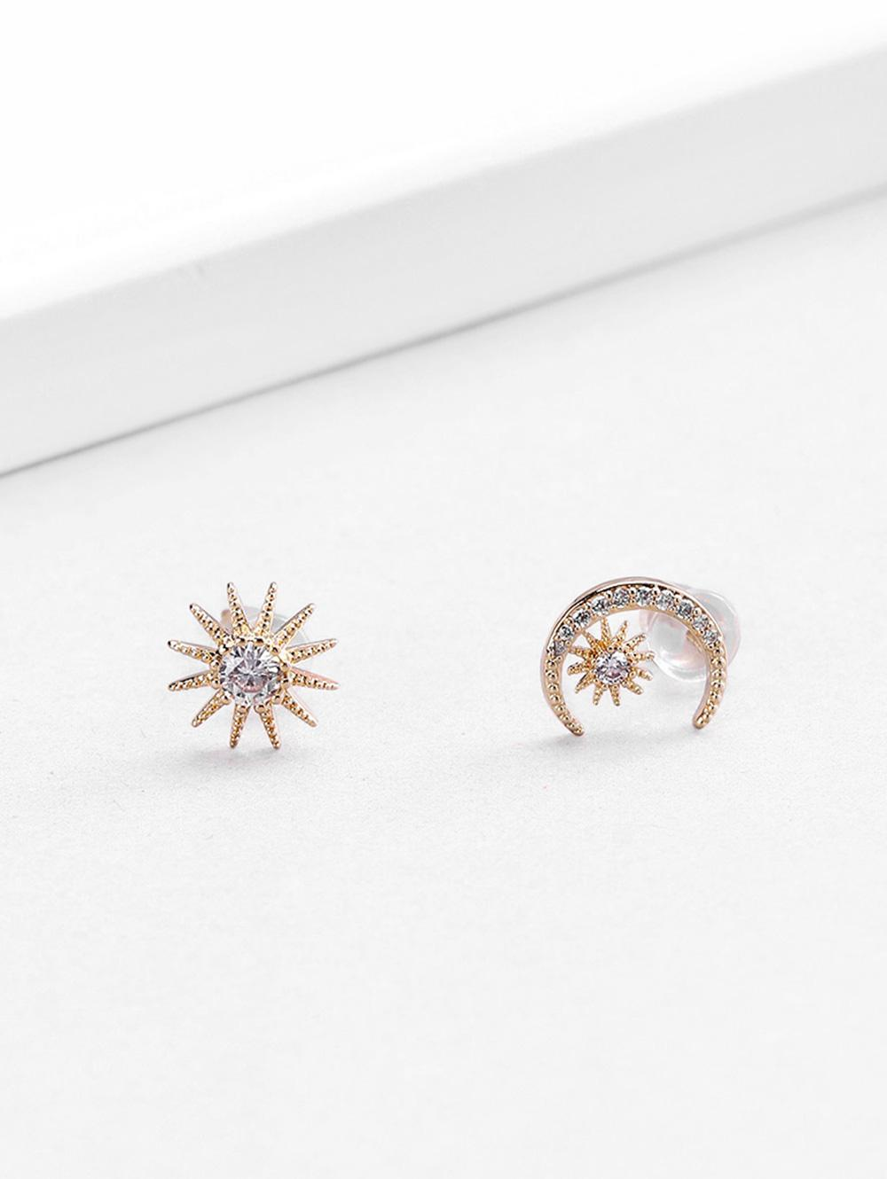 18K Gold Plated Zircon Embellished Moon Star Shape Stud Earrings