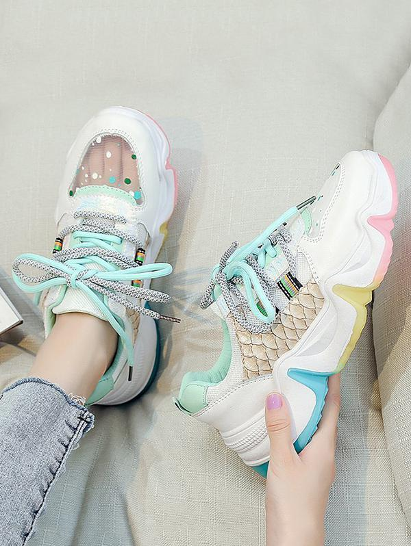 Colorblock Mesh Panel Dad Sneakers