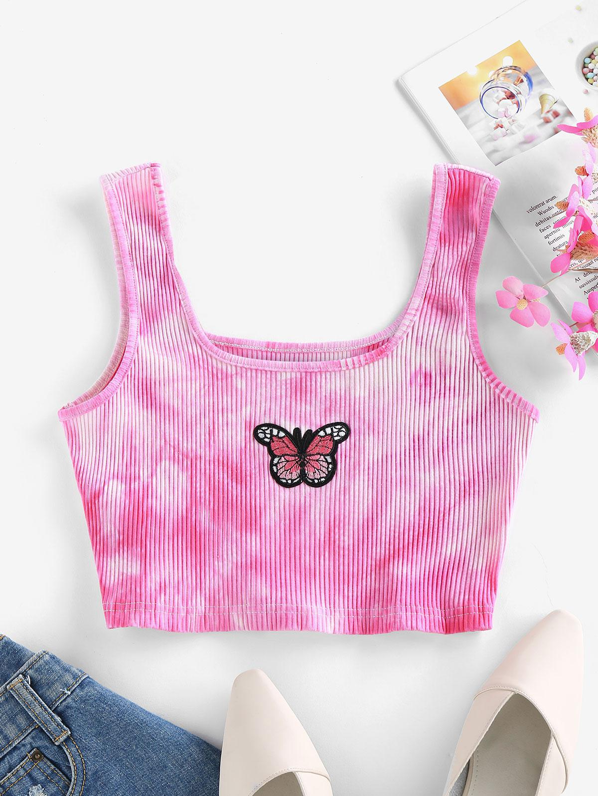 ZAFUL Tie Dye Butterfly Embroidered Crop Top