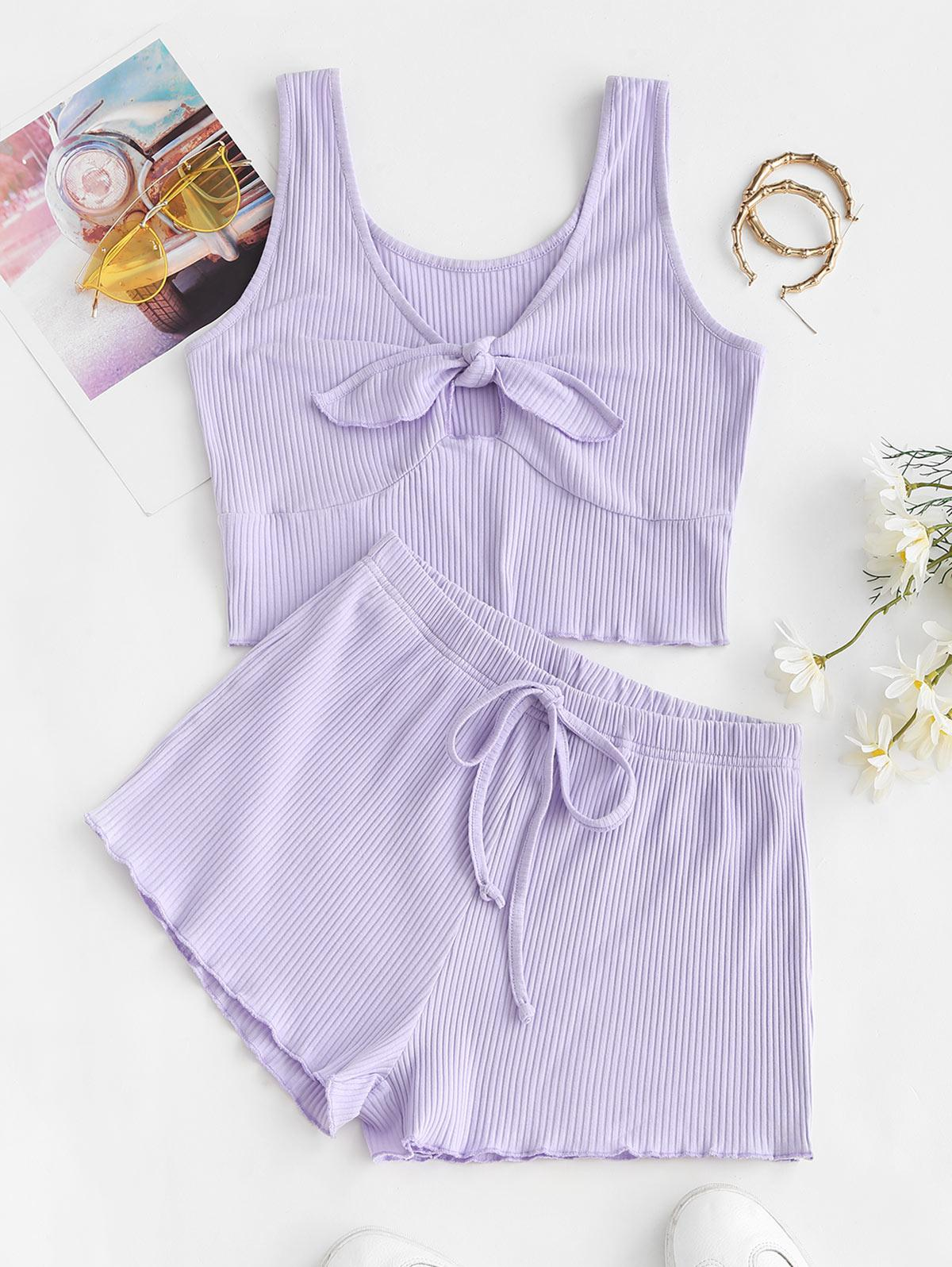 ZAFUL Knotted Ripped Tie Two Piece Shorts Set