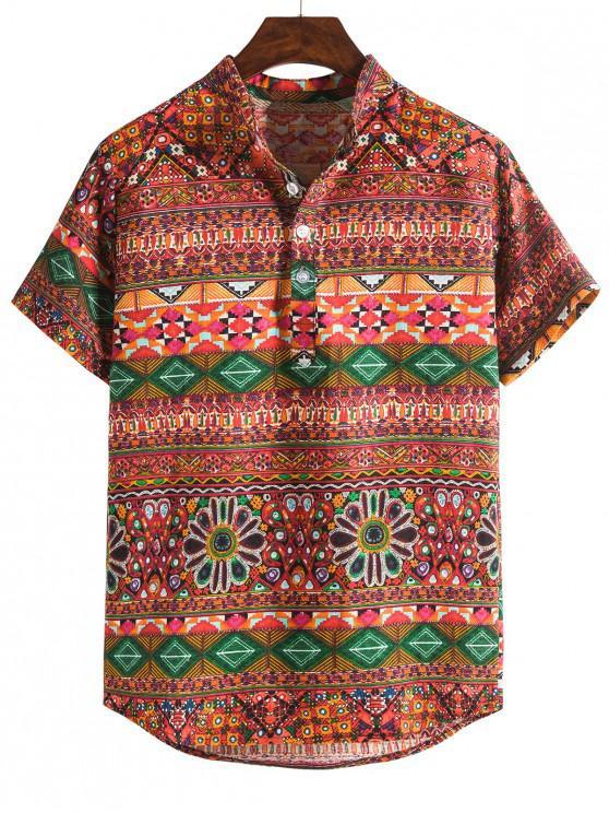 womens Ethnic Seamless Geo Print Stand Collar Henley Shirt - MULTI-B M