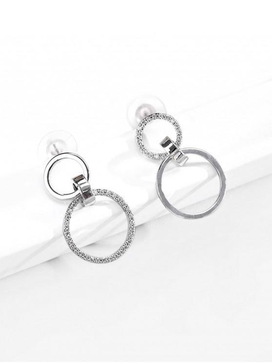 women's Rhinestone Circles Shape Drop Earrings - SILVER