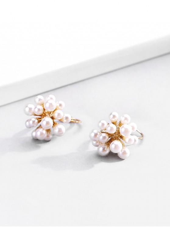 buy 18K Gold Plated Faux Pearl Flower Pistil Shape Earrings - GOLDEN