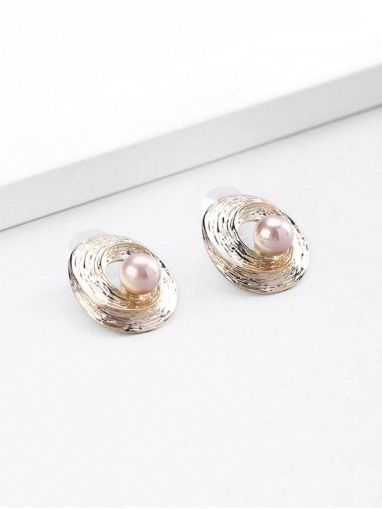 affordable 18K Gold Plated Faux Pearl Spiral Stud Earrings - GOLDEN